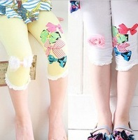 2013 summer bow girls clothing child trousers  capris pants legging kz-0942