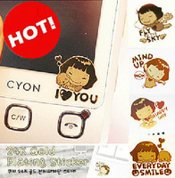 Via Fedex/EMS, Cell Phone 24K Gold Plating Sticker Keyboard Radiation Resistant Mobile Phone Sticker 2000PCS