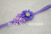 Anna Boutique satin rose flower with Starburst rhinestone satin ribbon flower Thin Elastic headbands accessories 120pcs/lot
