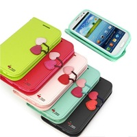 Free shipping Cherry Series Cute Flip Leather Case +Soft TPU Cover For Samsung Galaxy S3 i9300