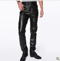 Male hot-selling slim artificial leather  pants men's artificial leather pants