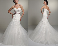 New Arrive Fashion Lace Applique Designer Long Train Tulle Beading Ivory Wedding Dress LW2011