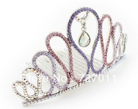 Free Shipping (24pcs/lot) alloy Hair accessories Tiara wave style paved with CZ Stones plated with platinum four colors