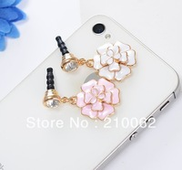 Rhinestone Camellia 3.5mm earphone jack plug, flower dust plug 6pc/lot for iPhone 5 free shipping Min. is $15 (mixed order)