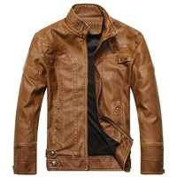 THOOO Top Designed PU Leather Slim Short Men Motorcycle Biker Zipper Jacket Coat  Top Quality Free Shippingt