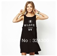 A312 2013 Women's Simple Design o-neck summer dress with wildfox No. 9 printed, mini dress Free Shipping Wholesale