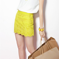 The trend of fresh candy color cutout lace short half-length skirt embroidery wave slim hip skirt