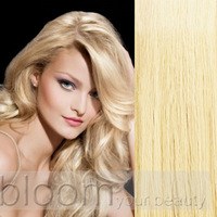 Top #60 Lightest Blonde Clip in Remy 100% Human Hair Extensions Full Head 8pieces Straight Long Soft Silky