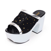 2013 fashion open toe platform thick heel sandals gauze paillette high-heeled slippers female