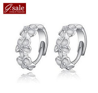 GS ED-50 wholesale three shiny flowers crystals zircon & 925 silver ladies stud earrings fashion jewelry earrings for women 2014