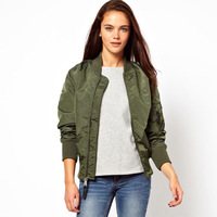Womens Ma1 army green flying bomber jacket with zipper decpration for wholesale and freeshipping
