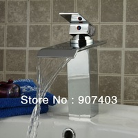 Free shipping hottest sales chrome bathroom bath basin vessel waterfall faucet mixer taps with slim spout 5 years guarantee
