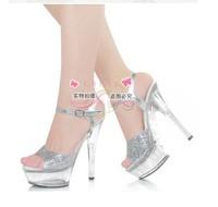 2014 free shipping sexy high thin heel 15 cm, nightclub sandals,  transparent banquet silver wedding shoes