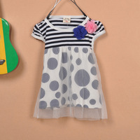 Dot kid's skirt flowers tulle dress children skirt short-sleeve T-shirt