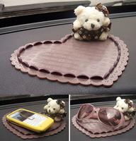 Free Shipping 2Pcs/Lot Lovely Bear Heart Shape Car Anti Slip Mat Auto Antiskid Pad Vehicle Anti-skidding Cushion