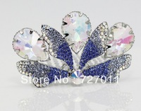 Free Shipping (24pcs/lot) alloy hair accessories Tiara butterfly style paved with CZ Stones plated with platinum two colors
