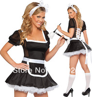 Free shipping 2013 New Arrival Wholesale Humouristic Cute Ladies Sexy Maid Costumes F1054