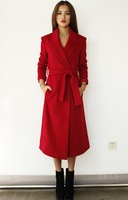 12 red ultra slim long cashmere overcoat wool coat woolen outerwear female fashion slim