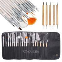 1set for 15pcs White Nail Brush Brushes Set + 5pcs Portable Cosmetics Telescopic Brush + Leather Case