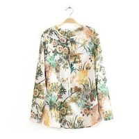 Europe pullover flower printed and white long sleeve female top shirt for women casual blouse free shipping