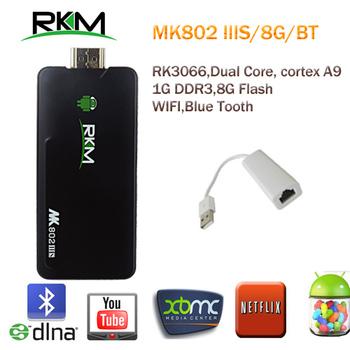Rikomagic MK802 IIIS Android 4.1 MINI PC Bluetooth STB RK3066Cortex A9 1GB RAM 8G ROM HDMI TF Card [MK802-IIIS/8G/BT+QY-4]