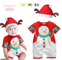2013 new Boys girls Christmas Xmas design clothing sets, short Sleeves romper+hat  2 pcs sets, Baby Cute wear,christmas gift