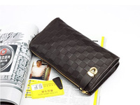 Fashion Brown/Black Genuine Leather Mens Zipper Clutch Bag Wallet,free shipping