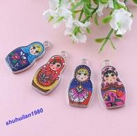 Free Shipping 50 Pcs DIY Two-Sided Mix Colors Enamel Matryoshk Russian Doll Charms