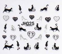 (10pcs/lot)New arrival cats Nail Art  Stickers 3D Nail Decals cat designs (JH025~JH036) (NS21)