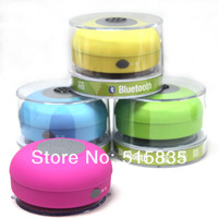 MQQ 300pcs DHL Waterproof Bluetooth With Mic Music Speaker Vacuum Sucker 4 colors Factory Trade