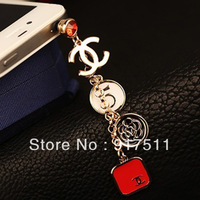 3.5mm red or black cc cell phone  dust plug for iphone 4/4s  dust prevent cover for samsung galaxy s3 s4