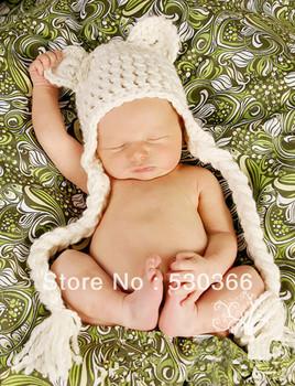 Free shipping The cute Big braid style baby hat handmade crochet photography props newborn baby cap