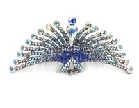 Free Shipping (24pcs/lot) alloy hair Tiara tail opening peacock style paved with CZ Stones plated with platinum four  colors