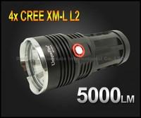 10sets,Super Bright UniqueFire UF-V10-4 5000 Lumen 4xCREE XM-L L2 LED Flashlight Lamp High Power Torch For Camping KING-black