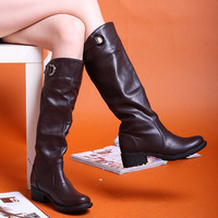 2012 boots spring and autumn boots flat heel snow boots high-leg boots black boots