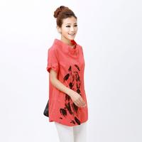 2013 casual women's plus size loose short-sleeve shirt print medium-long shirt female