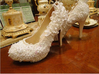 Handmade crystal pearl lace diamond wedding shoes dinner party evening dress shoes high-heeled shoes Spring Autumn Banquet Shoes