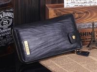 Fashion Black/brown Genuine Leather Mens Zipper Long Wallet Purse Bag,free shipping
