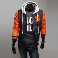 2013 Fashion Classic Personality Male Mark Of Sf With A Hood Baseball Uniform Wadded Jacket Free Shipping