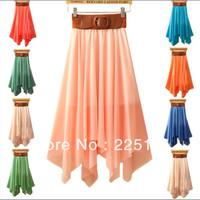 1pc Free Shipping Women Sexy Elegant Asymmetric Chiffon Long Maxi Skirt Chiffon Skirts Elastic Waist ,2013 Sell Like Hot Cakes