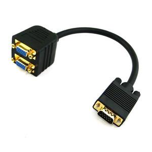 RGB VGA SVGA Male to 2 VGA HD 15 Female Splitter Adapter Extension Cable Black(China (Mainland))