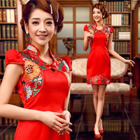 The bride married cheongsam red chinese style cheongsam dress vintage evening dress