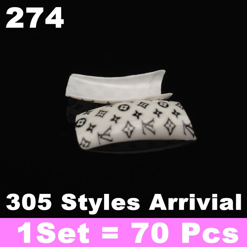 [ Retail ] 305 Styles Available Acrylic Nail Art Tips Pre Design Designed Nail Tips, 70pcs/Box + Free Shipping(China (Mainland))
