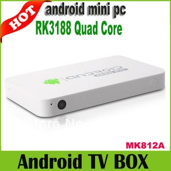 Wholesale Price 1pc/Lot MK812A Bluetooth rk3188 quad core mini PC android TV box HDMI XBMC DLNA 2.0MP camera Microphone