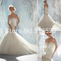 Impressive Sweetheart Appliques Embellished Tulle Mermaid  Sexy Wedding Dress