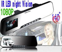 2.7inch HD-Car camera high definition screen, support 1080P Night Vision Car Rearview Mirror slim tachograph Free Shipping