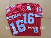 Free Shipping  Wholesale -Men's best #16 Joe Montana throwback Team Color Jersey American Football Jersey Mixed Order