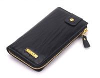 Fashion Black/borwn Genuine Leather Mens Zipper Long Wallet Purse Bag,free shipping