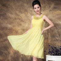 2013 women's dress fashion diamond beading sexy slim chiffon one-piece dress