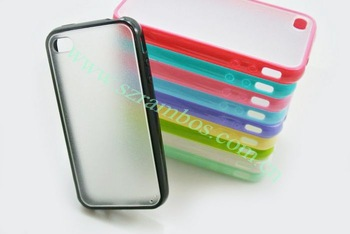 Cell Phone TPU Bumper PC Frame Clear Hard Plastic Case Cover for iPhone 4 4s, 1000pcs/lot free shipping